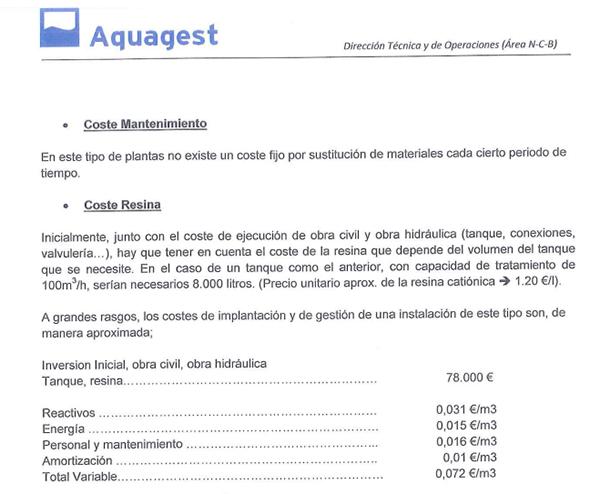 """En un informe de agosto de 2011 la propia empresa propone una solución asequible, el tratamiento mediante el intercambio iónico que rectifica el nivel de cal y valorada en unos 78.000,00 € cantidad aproximada a la que invirtieron en las """"famosas"""" maquetas navales"""