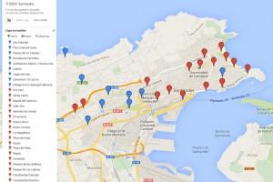 Mapa con las paradas propuestas